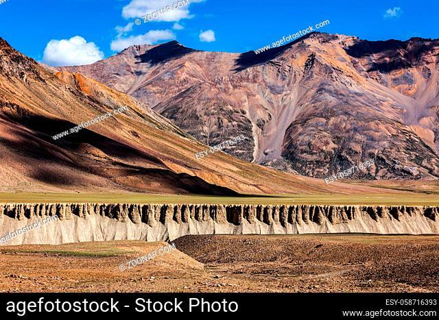 Lanscape on trans-Himalayan Manali Leh highway in Himalayas. Himachal Pradesh, India