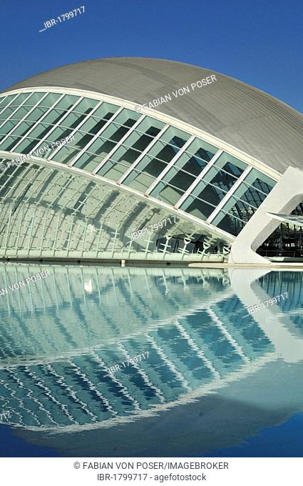L'Hemisferic, Imax cinema and planetarium, Ciudad de las Artes y las Ciencias, City of Arts and Sciences, designed by Spanish architect Santiago Calatrava