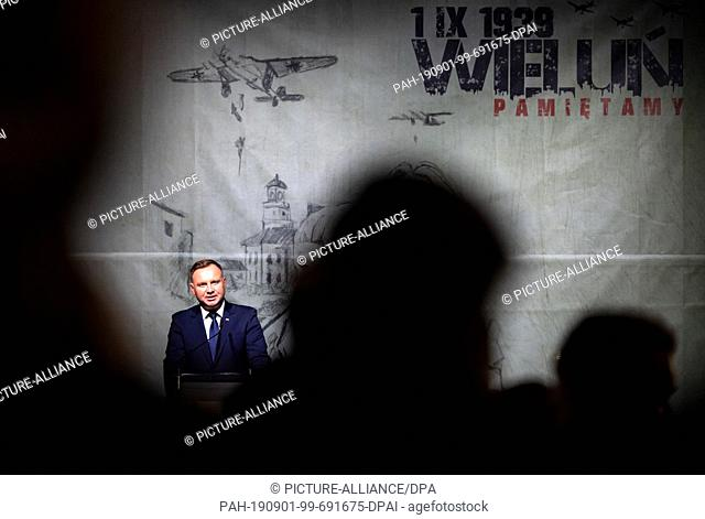01 September 2019, Poland, Wielun: Polish President Andrzej Duda speaks at the commemoration ceremony of the city of Wielun for the 80th anniversary of the...