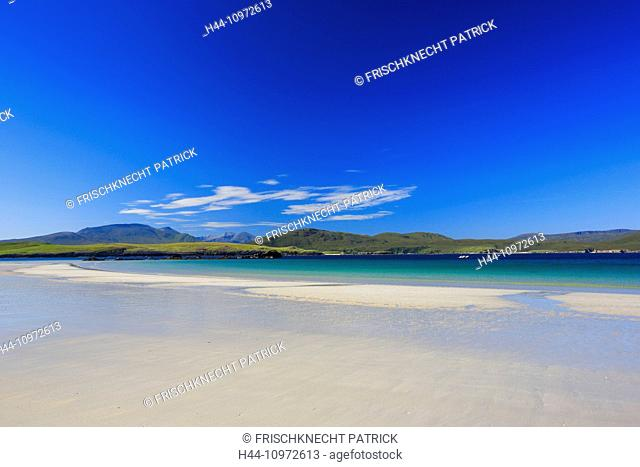 Balnakeil Bay, bay, Durness, cliff, rock, water, Great Britain, Highland, highlands, sky, hill, coast, coastal scenery, scenery, landscape, sea, seashore