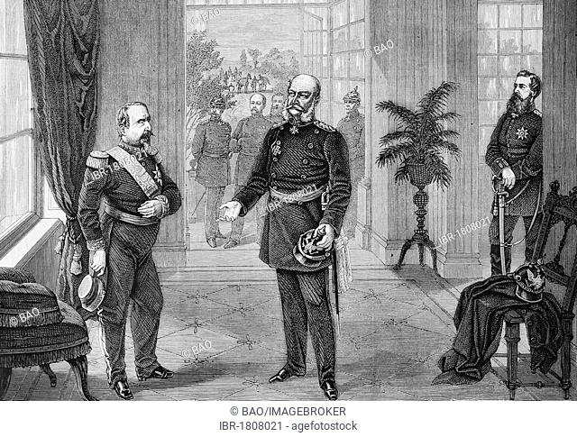 Capture of Napoleon III. by King William in the Bellevue Palace in Sedan, 2nd September 1870, historical illustration, Illustrierte Kriegschronik 1870 - 1871...