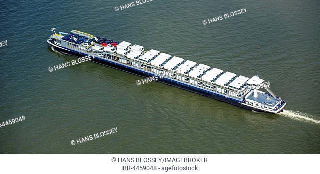 Forenso cargo ship, car cargo ship, cargo ship with small trucks, inland waterways, river Rhine at Rheinberg, Ruhr district, North Rhine-Westphalia, Germany
