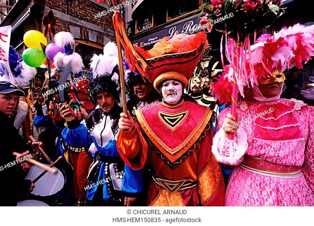 Belgium, Wallonia, carnival of Binche, the parade of a carnival association on Shrove Sunday
