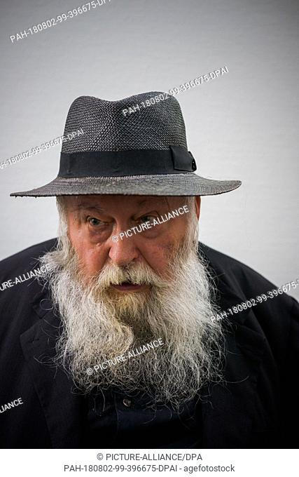 """01 August 2018, Austria, Mistelbach: The Austrian painter and action artist Hermann Nitsch in the """"""""nitsch museum"""""""". He will turn 80 on 29 August 2018"""