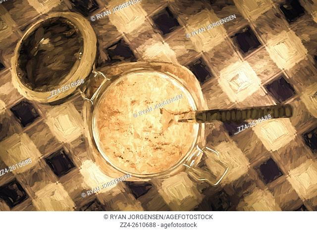 Digital painted artwork on an open jar of sugar with teaspoon on plaid blue tablecloth. Kitchen details