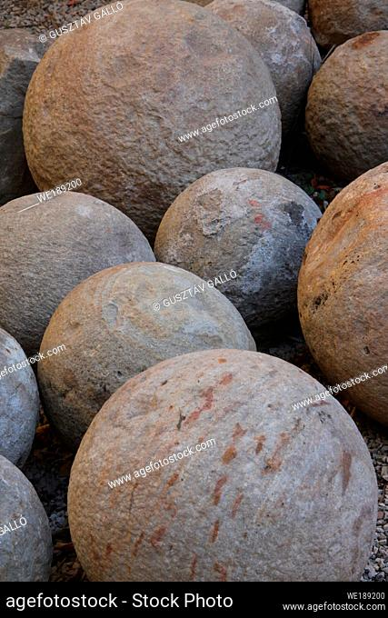 Ancient canon balls made of rock