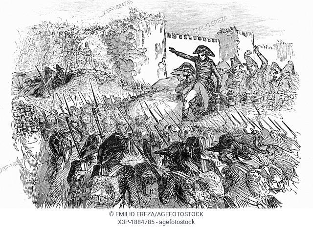 Siege of Acre, Palestine, by Napoleon I 1769-1821, emperor of France  Antique illustration, 1855