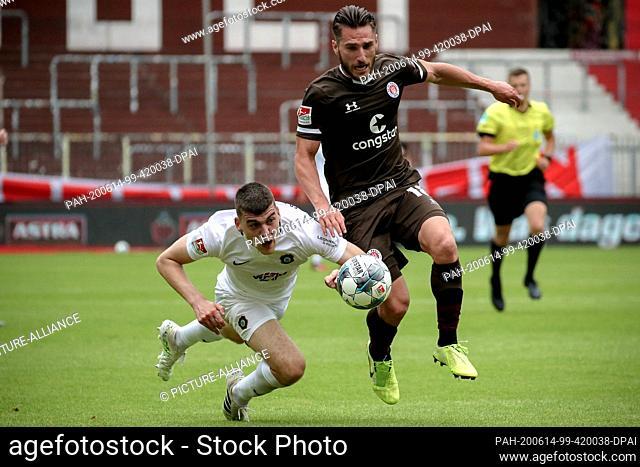 14 June 2020, Hamburg: Football: 2nd Bundesliga, FC St. Pauli - Erzgebirge Aue, 31st matchday at the Millerntor stadium St