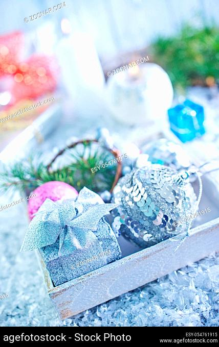 christmas decoration in wooden box and on the white table