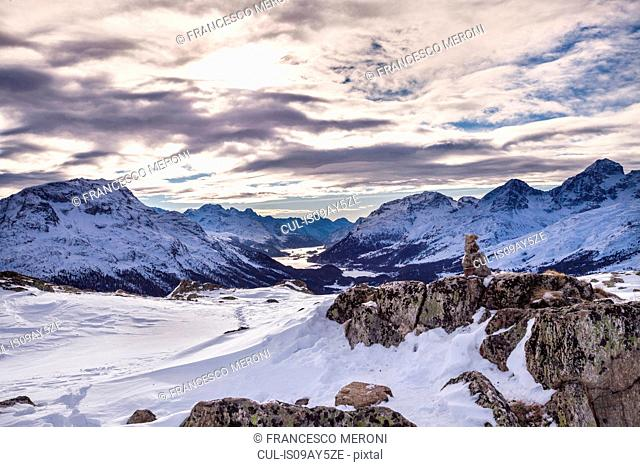 Winter landscape, Engadine, Switzerland
