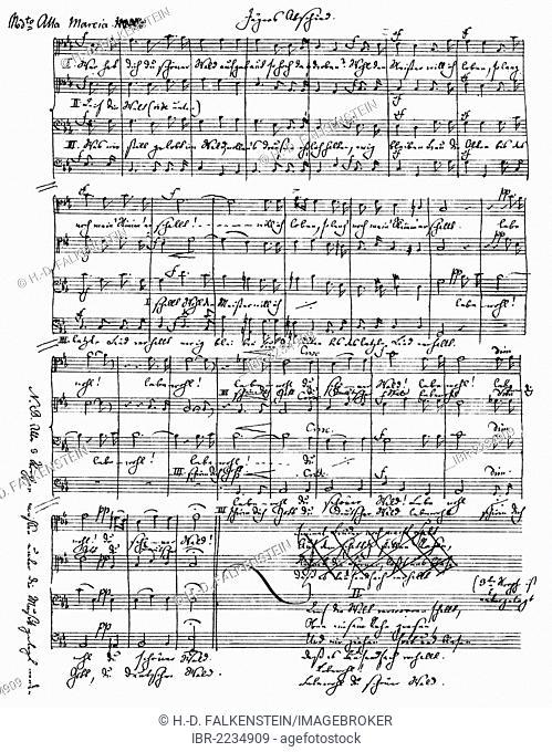 Historic handwritten sheet music by Jacob Ludwig Felix Mendelssohn Bartholdy