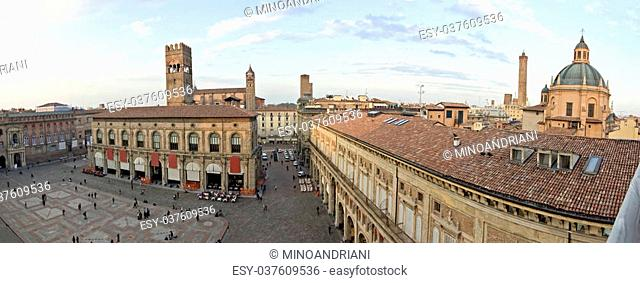 A panoramic view of main square - bologna, italy