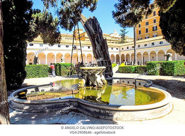 The Fountain inside the Garden of Michelangelo's Cloister (Chiostro di Michelangelo) Terme di Diocleziano, National Roman Museum (Museo Nazionale Romano), Rome