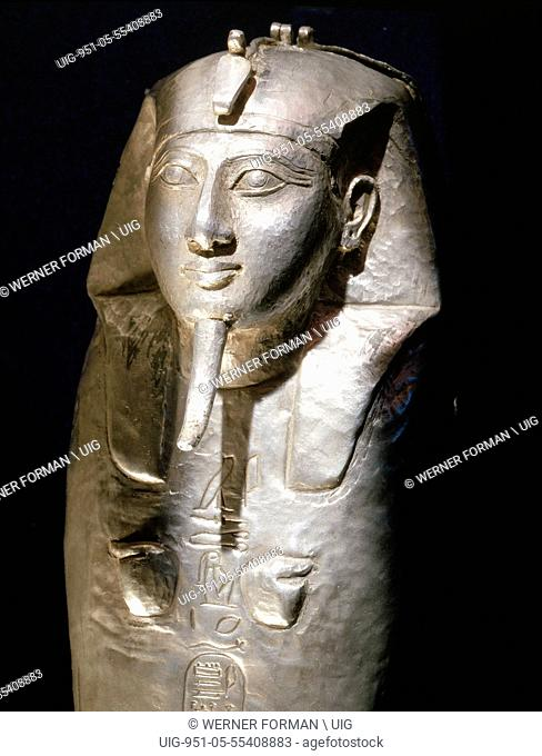 One of a set of four miniature silver canopic coffins used to preserve the internal organs of the king Shoshenq II