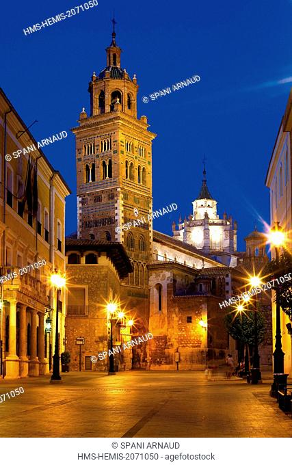 Spain, Aragon, Teruel, La Asuncion, listed as World Heritage by UNESCO, overview by night and cathedral Square