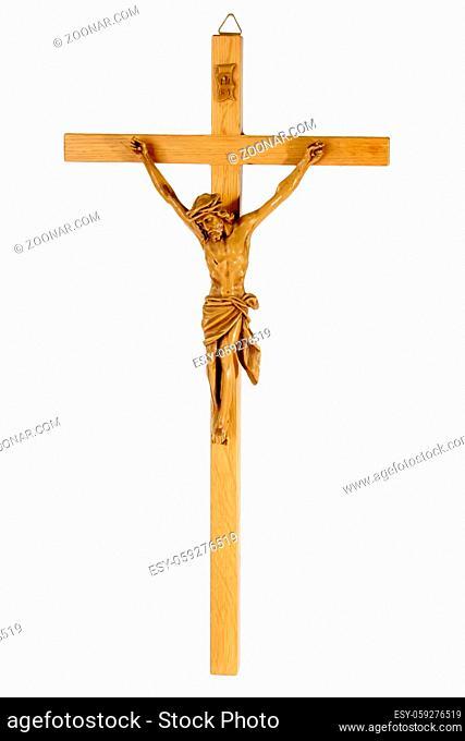 Jesus am Kreuz freigestellt auf weissem Hintergrund Jesus christ isolated on bright background