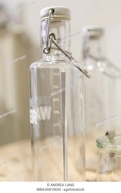Reusable glass bottles from the unpackaged 'Stückgut' shop, Altona, Hamburg, Germany