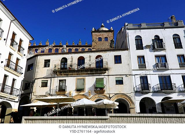Plaza Mayor in Caceres, in front reidential building, up in background building with tower - Historical Archive of Cáceres - Archivo Histórico Provincial de...
