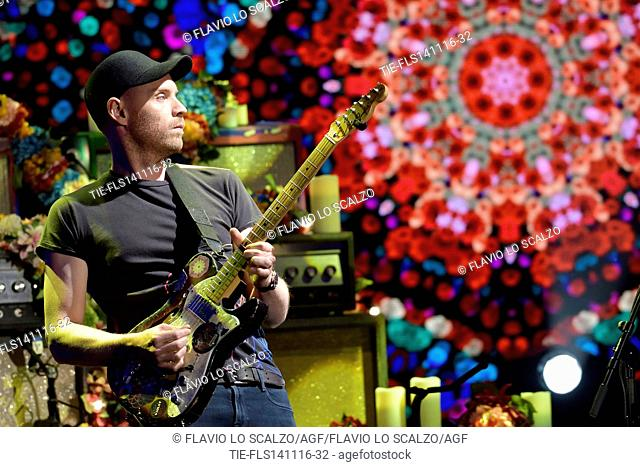 Jonny Buckland guitarist of Coldplay guest at tv programme Che tempo che fa, Milan, ITALY-13-11-2016