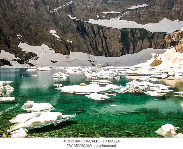 Iceberg Lake Trail in summer, Glacier National Park, Montana, Stati Uniti