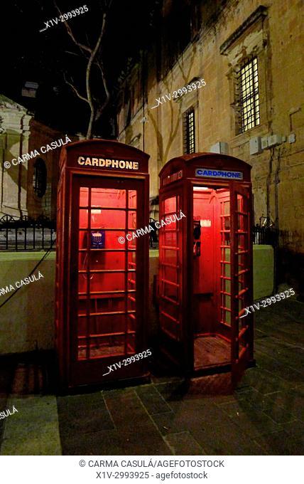 telephone box in Valletta, Malta. A british heritage
