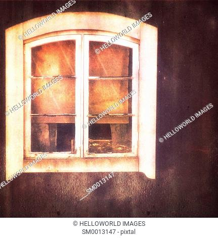 Window of old wooden house, Stockholm, Sweden, Scandinavia
