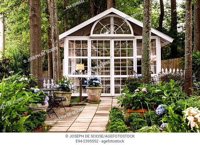 Hydrangea garden with an outdoor living space. Georgia USA