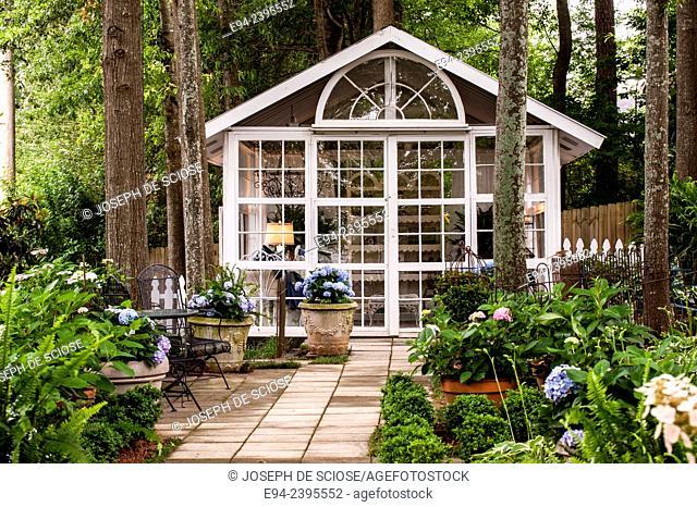 Hydrangea garden with an outdoor living space. Georgia USA