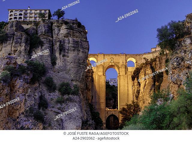 Spain, Andalucia, , Malaga Province, Ronda , El Tajo de Ronda Bridge
