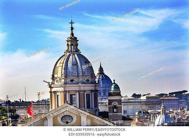Churches Domes Vatican Cityscape Rome Italy
