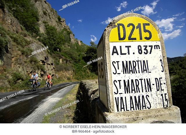 Information on distances, cyclists near Saint Martial, Ardèche, Rhones-Alpes, France, Europe