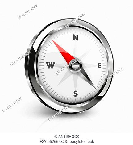 Vector realistic compass illustration, tourism and navigation conceptual icon, 3d design