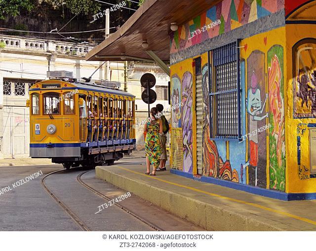 Brazil, City of Rio de Janeiro, The Santa Teresa Tram on Largo do Curvelo