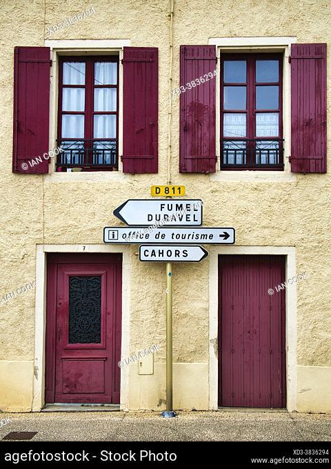 road signs, Puy l Eveque, Lot Department, Occitanie, France