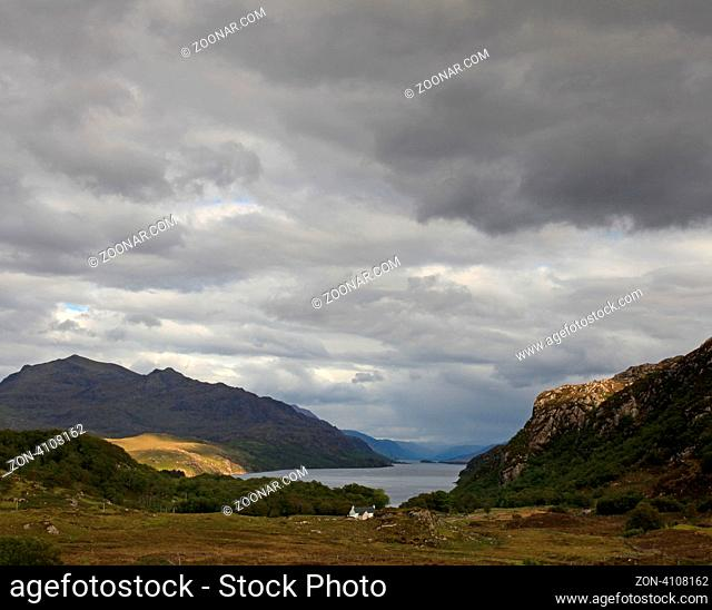 Loch Maree in Scotland on an overcast day