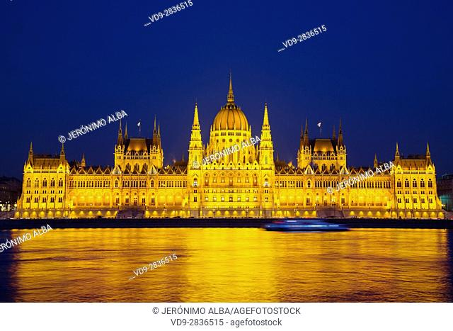 Hungarian Parlament building at night, Neogothic Style, National Assembly. Banks of Danube river. Budapest Hungary, Southeast Europe