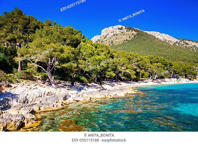 rocky coastline near the beach Cala Pi de La Posada, Mallorca, Spain