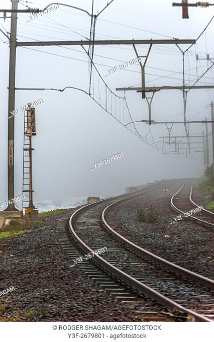 Misty morning. A bend in the railway line. Southern Suburbs Line, Cape Town, South Africa