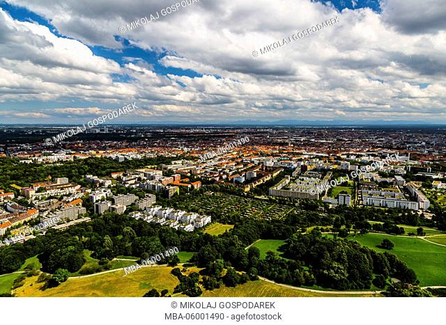 Germany, Bavaria, Munich, View from Olympiaturm, City