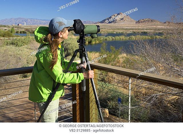 Birder with spotting scope, City of Henderson Bird Viewing Preserve, Nevada