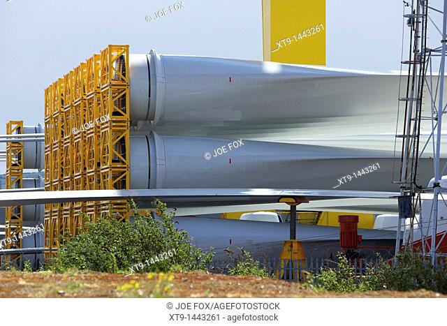 wind turbine blades for construction of wind turbines at harland and wolff shipyard belfast northern ireland