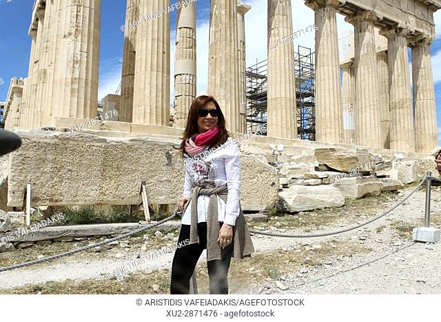 Former Argentine president Cristina Fernandez de Kirchner visits Acropolis. Cristina Fernandez de Kirchner is in Athens invited by the governing SYRIZA party