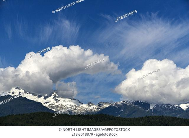 Canada, BC, Whistler. Clouds over the Coast Mountains