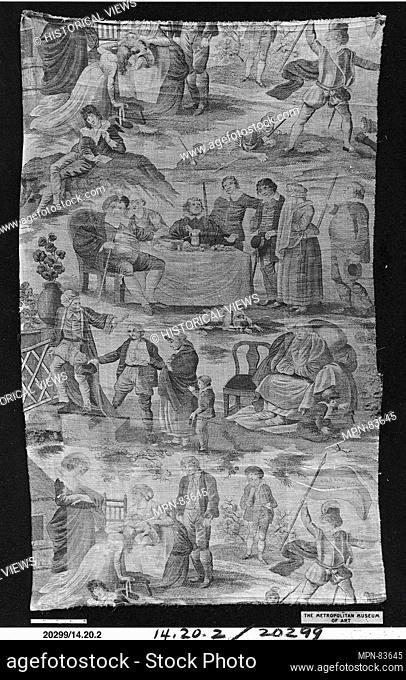Shakespeare's Seven Ages of Man. Engraver: Engraver: John Slack; Date: ca. 1805; Culture: British; Medium: Cotton; Dimensions: L. 41 1/2 x W
