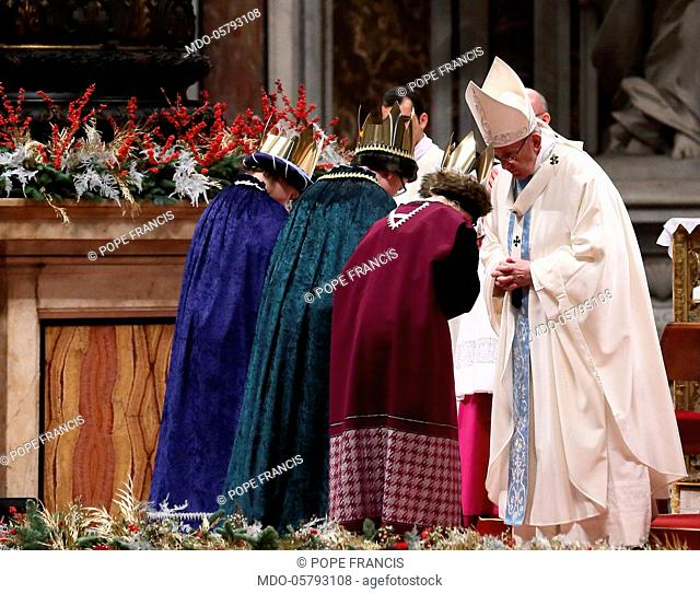 Pope Francis (Jorge Mario Bergoglio) meeting three children dressed as Re Magi during the celebration of Holy Mass, on the occasion of the solemnity of Mary