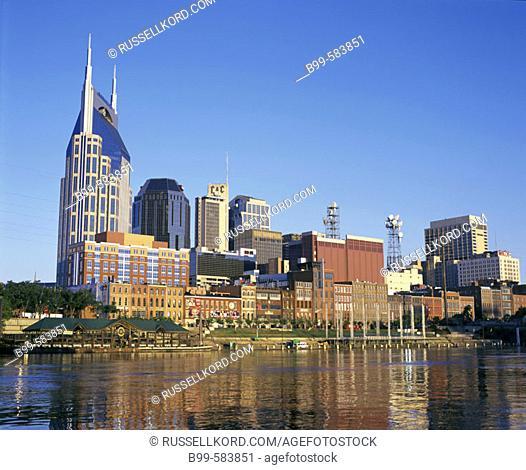 Downtown Skyline, Cumberland River, Nashville, Tennessee, Usa