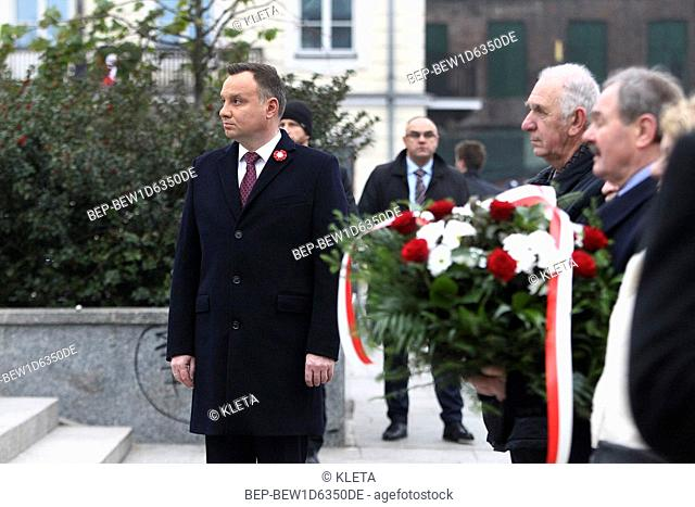 November 11, 2018 Warsaw, Poland. President Andrzej Duda deposited a wreath at the Wincenty Witos` monument