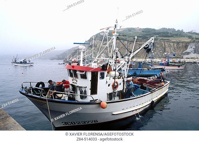 Fishing boat. Malpica harbour. La Coruña province. Galicia. Spain