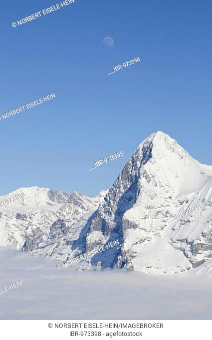Panoramic view from Mt Schilthorn, Piz Gloria to the Eiger with north face, Lauterbrunnen, Bernese Alps, Switzerland, Europe