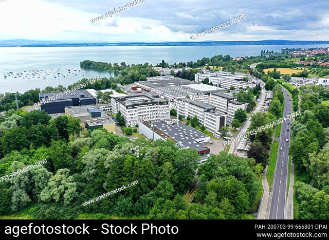 03 July 2020, Baden-Wuerttemberg, Immenstaad am Bodensee: Airbus Defence and Space is located directly on the shore of Lake Constance
